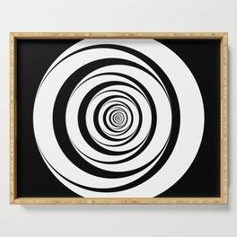 Black White Circles Optical Illusion Serving Tray