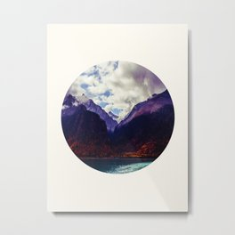 Mid Century Modern Round Photo Purple Parallax Mountains Meets Blue Valley Lake With Autumn Trees Metal Print