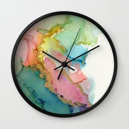 Lavender Lagoon Brass Waves Wall Clock