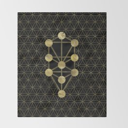 Kabbalah The Tree of Life Gold on Black N1 Throw Blanket