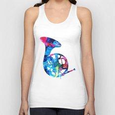 Colorful French Horn 2 - Cool Colors Abstract Art Sharon Cummings Unisex Tank Top