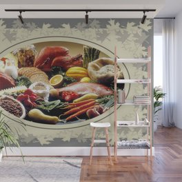 Thanksgiving Dinner and Autumn Decoration. Wall Mural