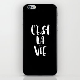 C'est La Vie black and white watercolor typography wall art home decor handwritten bedroom art inspo iPhone Skin