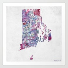 Rhode Island map Art Print