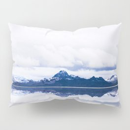 Navy blue Mountains Against Lake With Clouds Pillow Sham