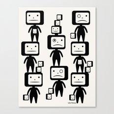 Black Block Heads Canvas Print