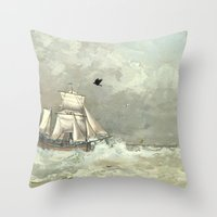 palestine Throw Pillows featuring Breaking Waves by anipani