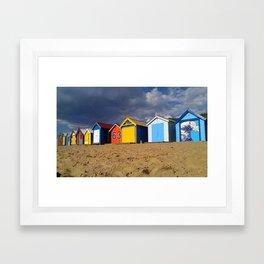 Brighton Beach Bathing Boxes Framed Art Print