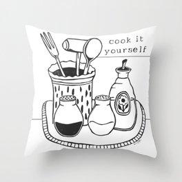 Cook it Yourself Folk Art Throw Pillow