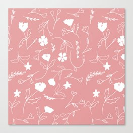 Modern blush pink  coral white hand painted floral Canvas Print