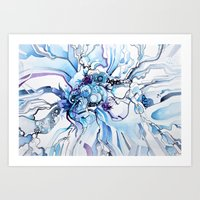 Sub-Atomic Stress Release Therapy - Blue Psychedelic Watercolor Art Print