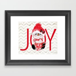 JOY - PEPPERMINT SNOWMAN Framed Art Print