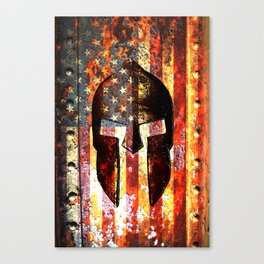 American Flag And Spartan Helmet On Rusted Metal Door - Molon Labe Canvas Print