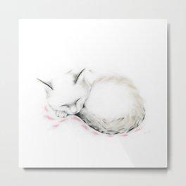 Cat Sleeping on a Pink Blanket Metal Print