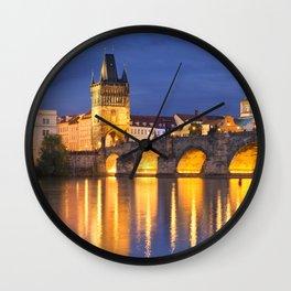 The Charles Bridge in Prague, Czech Republic at night Wall Clock