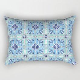 Indian Lotus Flowers Tile in Blue Rectangular Pillow