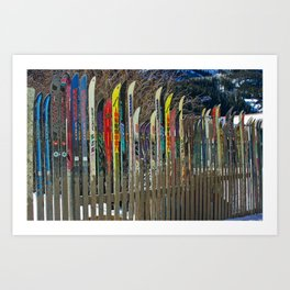 Colorado Ski Fence Art Print
