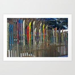 Colorado Ski Fence Art Print