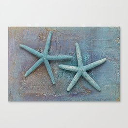 Turquoise Starfish on textured Background Canvas Print