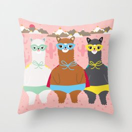 Alpaca Superheroes I Throw Pillow