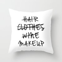 makeup Throw Pillows featuring Makeup by I Love Decor