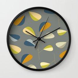 Mid Century Modern Graphic Leaves Pattern 3. dark grey Wall Clock