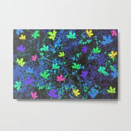 maple leaf in pink green purple blue yellow with blue creepers plants background Metal Print