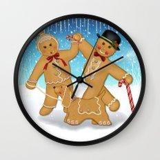 Gingerbread Family Winter Fun Wall Clock
