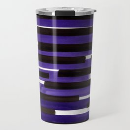 Purple Primitive Stripes Mid Century Modern Minimalist Watercolor Gouache Painting Colorful Stripes Travel Mug