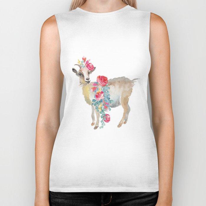 goat with flower crown Biker Tank
