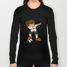 England Soccer Ball Dabbing Girl British Football Long Sleeve T-shirt