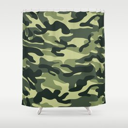 Green Military Camouflage Pattern Shower Curtain