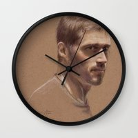 jack daniels Wall Clocks featuring Jack by Jackie Sullivan