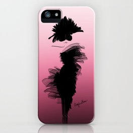Fashion model in little black dress and pink iPhone Case