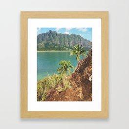 Palm Trees Overlooking Ocean And Kualoa Mountain Range Framed Art Print