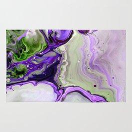 Colorful Purple Fluid Acrylic Pour Art - Digital Art Rug