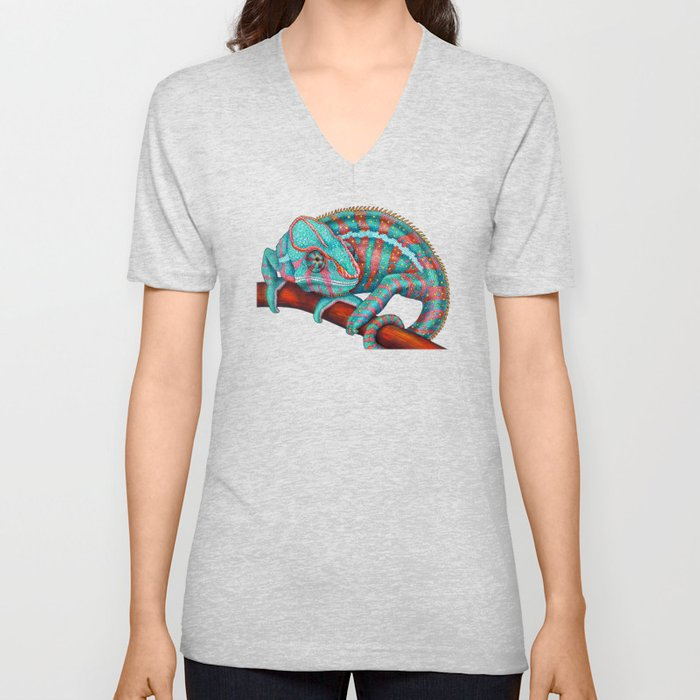 8e98aedc4080 Panther Chameleon Turquoise Blue   Coral Red Unisex V-Neck by ...