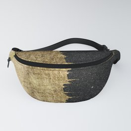 Faux Gold and Black Starry Night Brushstrokes Fanny Pack