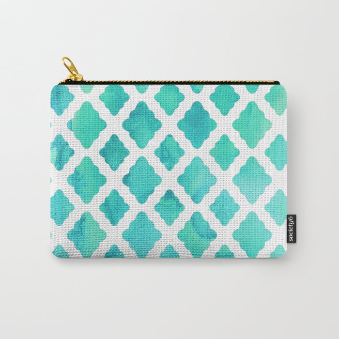 Watercolor Mint Diamonds Carry-All Pouch
