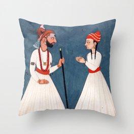 Raja Shamsher Sen with a Youth - Vintage Indian Art Print Throw Pillow