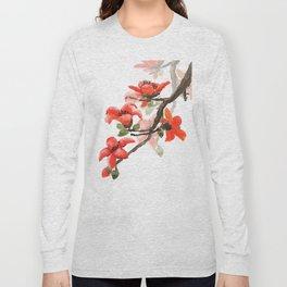red orange kapok flowers watercolor Long Sleeve T-shirt