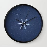 snowflake Wall Clocks featuring Snowflake by LainPhotography