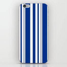 White and blue striped . iPhone Skin