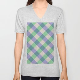 Green blue ivory violet geometric checker gingham Unisex V-Neck