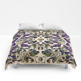 Vintage Purple Vine and Peacock Pattern Comforters