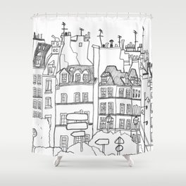 Paris Near Cathedral Notre-Dame Shower Curtain