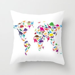 Dinosaur Map of the World Map Throw Pillow