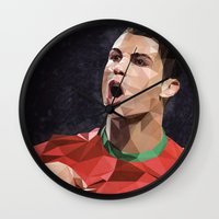 ronaldo Wall Clocks featuring Cristiano Ronaldo CR7 by Trimm Illustrations