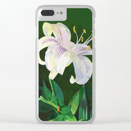 White Lily Floral Watercolor Portrait - Green Background Clear iPhone Case