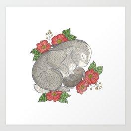 Momma & Baby Bunny Art Print